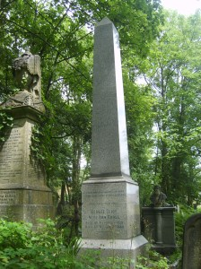 George Eliot's Grave in Highgate Cemetery, London.