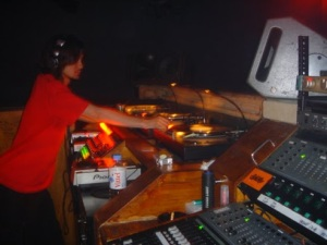 A tiny Tokyo club called Loop: note mixing desk permanently installed in right of booth.