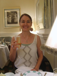 Me at Claridge's in a Starnes top.