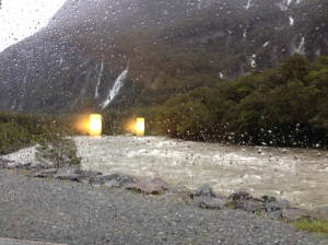 Lounge view from Milford Lodge: 50km/hr winds and 60mm of rain!