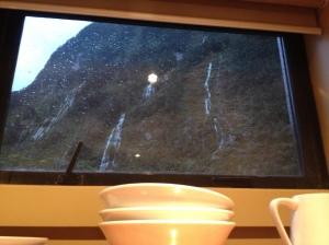 Kitchen view: waterfalls all around!